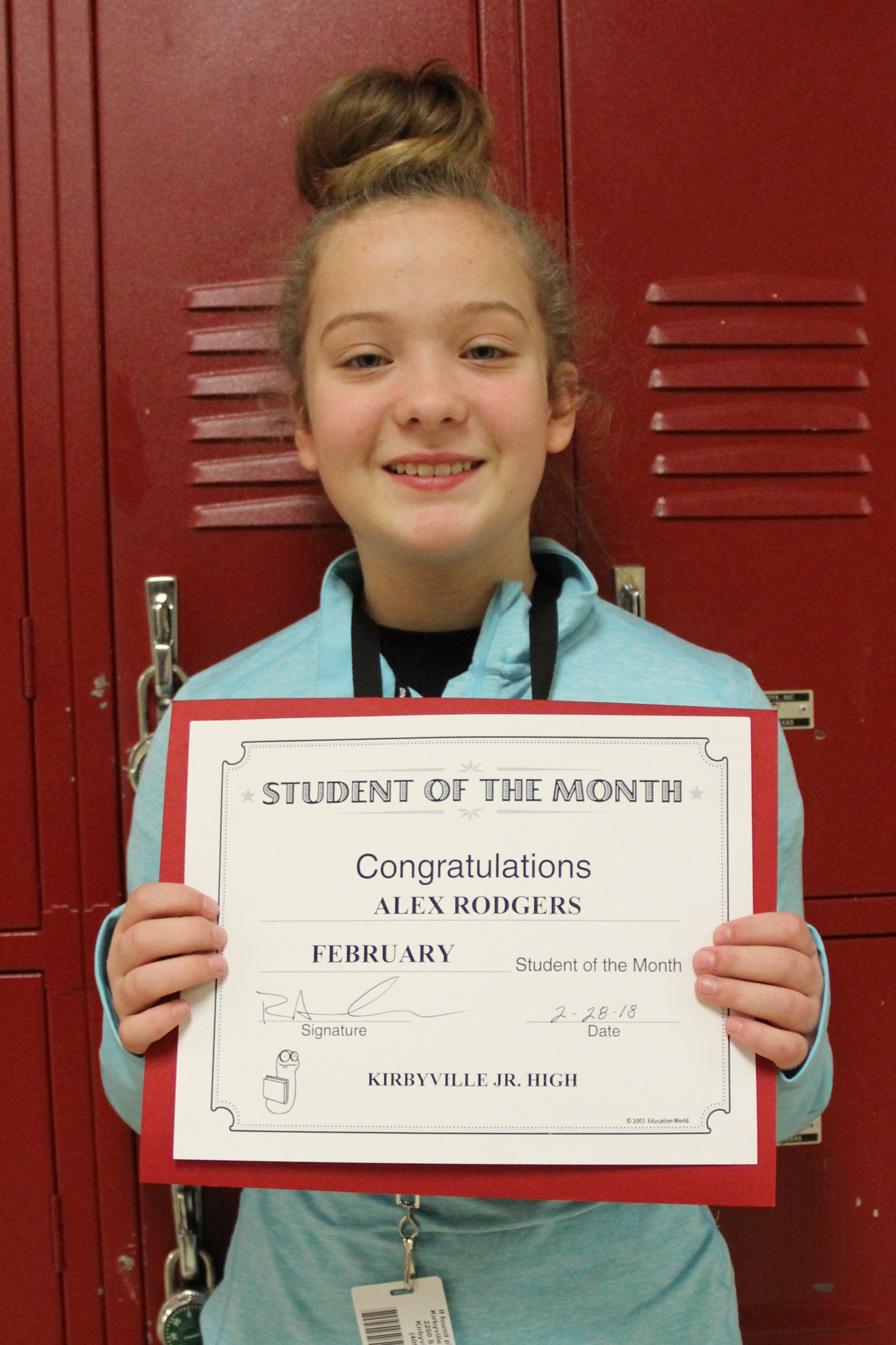 Alex Rodgers February Student of the Month