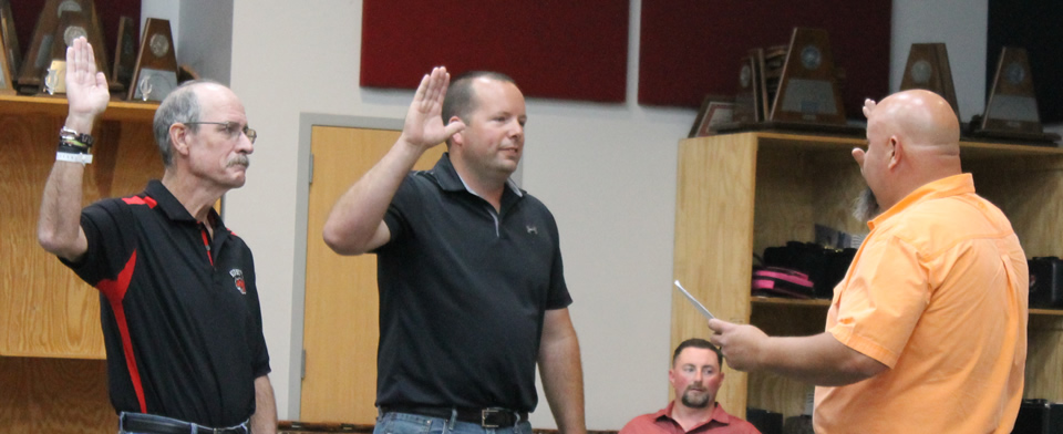 Justice of the Peace, Mike Smith, Swears in newly elected Board Members; Chad George and Joe Brecht